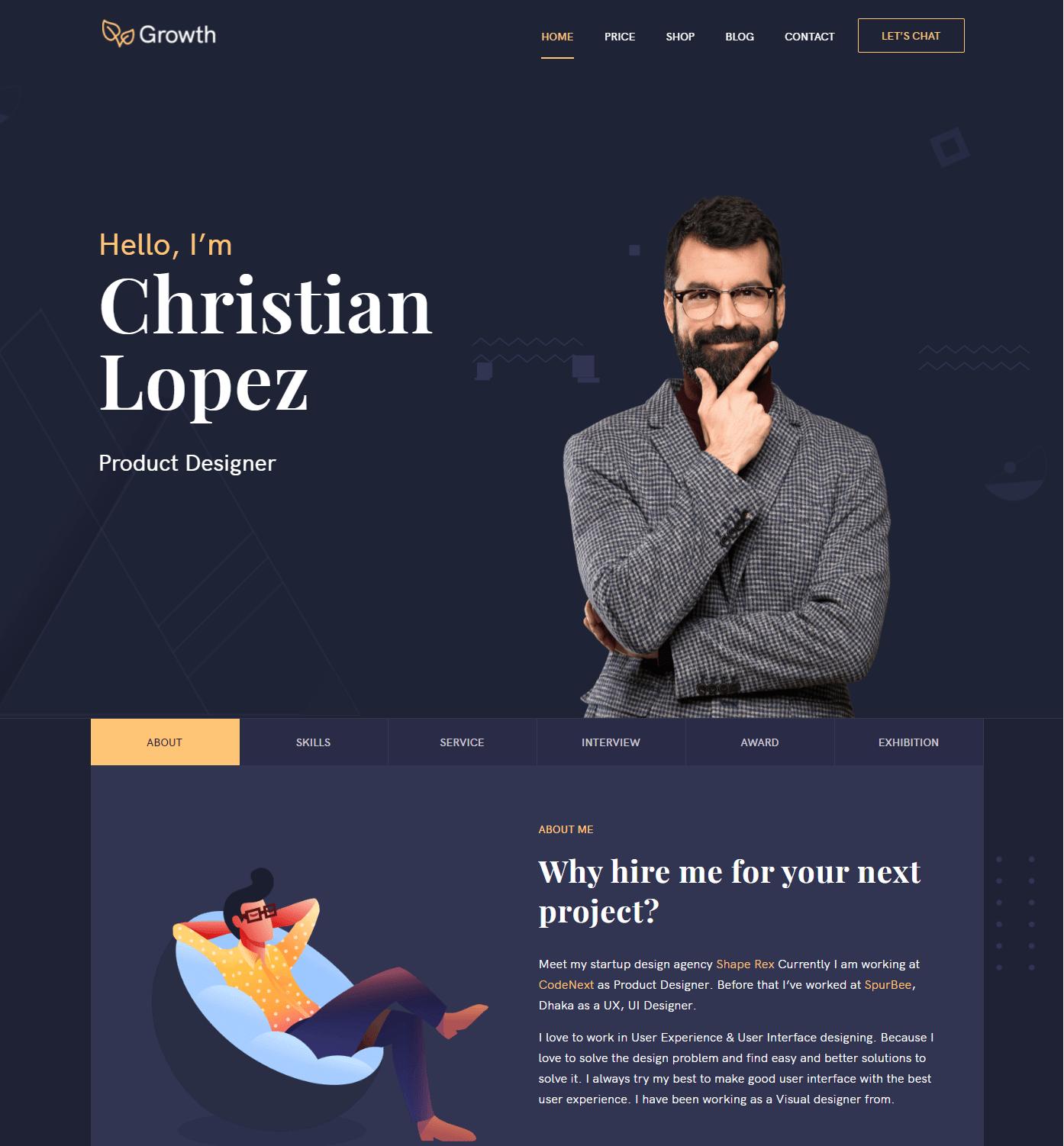Growth – Personal Portfolio WordPress Theme