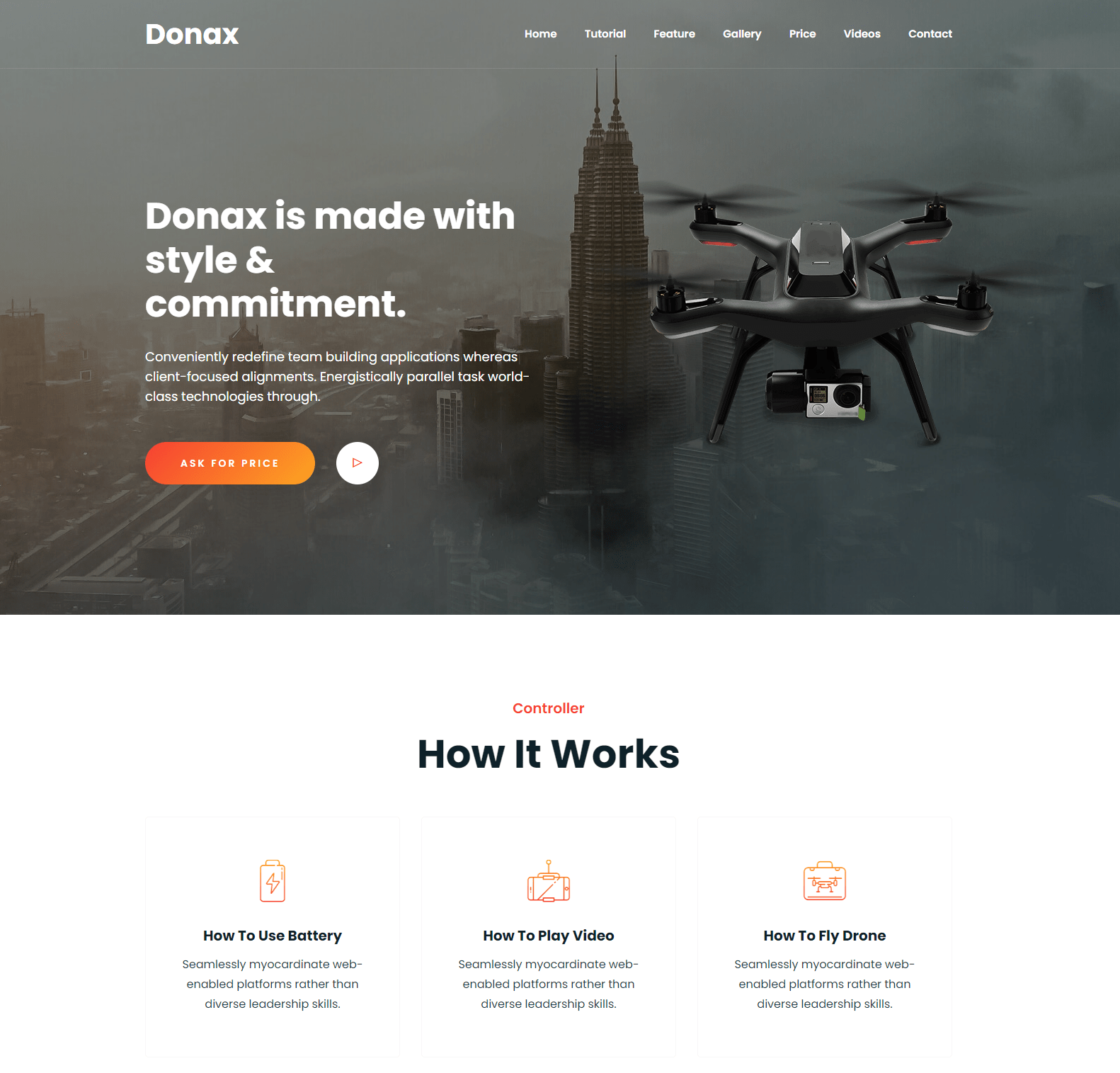 Donax – Drone Product Landing Template